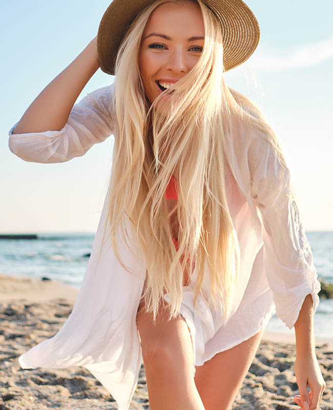 Young joyful blond woman